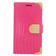 Luxury Portfolio Leather Wallet for Samsung Galaxy Avant - Croc Hot Pink