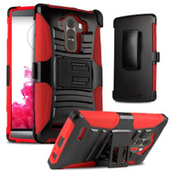 *SALE* Advanced Armor Hybrid Kickstand Case with Holster for LG G4 - Black Red