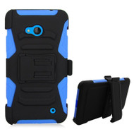 *SALE* Advanced Armor Hybrid Kickstand Case with Holster for Microsoft Lumia 640 - Black Blue