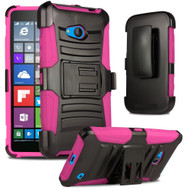 *SALE* Advanced Armor Hybrid Kickstand Case with Holster for Microsoft Lumia 640 - Black Hot Pink