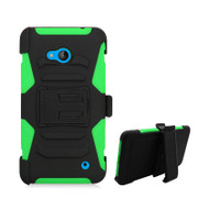 *SALE* Advanced Armor Hybrid Kickstand Case with Holster for Microsoft Lumia 640 - Black Green