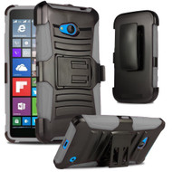 *SALE* Advanced Armor Hybrid Kickstand Case with Holster for Microsoft Lumia 640 - Black Grey