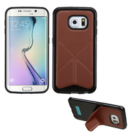 Bumper Frame Multi-View Hybrid Case for Samsung Galaxy S6 Edge - Brown