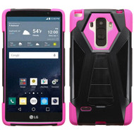 Triangle Multi-Layer Hybrid Kickstand Case for LG G Stylo - Black Hot Pink