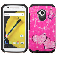 Hybrid Multi-Layer Armor Case for Motorola Moto E 2nd Generation - Glittering Butterfly