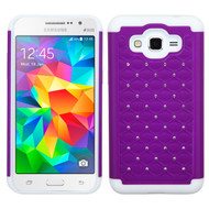 TotalDefense Diamond Hybrid Case for Samsung Galaxy Grand Prime - Purple White