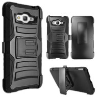 Advanced Armor Hybrid Kickstand Case with Holster for Samsung Galaxy Grand Prime - Black