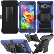 Advanced Armor Hybrid Kickstand Case with Holster for Samsung Galaxy Grand Prime - Black Blue