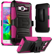*SALE* Advanced Armor Hybrid Kickstand Case with Holster for Samsung Galaxy Grand Prime - Black Pink