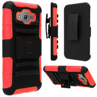 *SALE* Advanced Armor Hybrid Kickstand Case with Holster for Samsung Galaxy Grand Prime - Black Red
