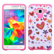 Hybrid Multi-Layer Armor Case for Samsung Galaxy Grand Prime - Heart Graffiti