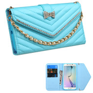 Luxury Leather Clutch Wallet Case for Samsung Galaxy S6 Edge - Blue