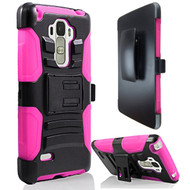 *SALE* Advanced Armor Hybrid Kickstand Case with Holster for LG G Stylo / Vista 2 - Black Hot Pink