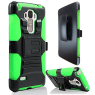 Advanced Armor Hybrid Kickstand Case with Holster for LG G Stylo / Vista 2 - Black Green
