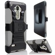 *Sale* Advanced Armor Hybrid Kickstand Case with Holster for LG G Stylo / Vista 2 - Black Grey