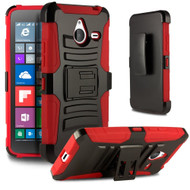 *Sale* Advanced Armor Hybrid Kickstand Case with Holster for Microsoft Lumia 640 XL - Black Red
