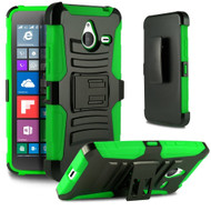 Advanced Armor Hybrid Kickstand Case with Holster for Microsoft Lumia 640 XL - Black Green