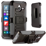 *Sale* Advanced Armor Hybrid Kickstand Case with Holster for Microsoft Lumia 640 XL - Black Grey