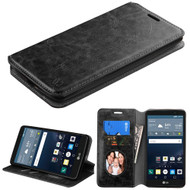 Book-Style Leather Folio Case for LG G Stylo / Vista 2 - Black