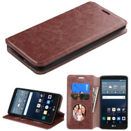 Book-Style Leather Folio Case for LG G Stylo / Vista 2 - Brown