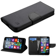Diary Leather Wallet Case for Microsoft Lumia 640 - Black