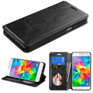 Book-Style Leather Folio Case for Samsung Galaxy Grand Prime - Black
