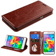 Book-Style Leather Folio Case for Samsung Galaxy Grand Prime - Brown