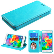 Book-Style Leather Folio Case for Samsung Galaxy Grand Prime - Blue