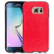 *Sale* Rubberized Leather Backing TPU Case for Samsung Galaxy S6 Edge - Red