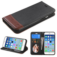 Premium Leather Wallet Book Case for iPhone 6 / 6S - Black Brown