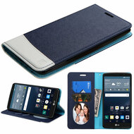 Premium Leather Wallet Book Case for LG G Stylo / Vista 2 - Blue