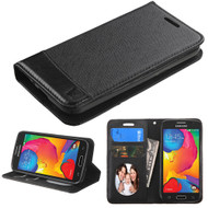 Premium Leather Wallet Book Case for Samsung Galaxy Avant - Black