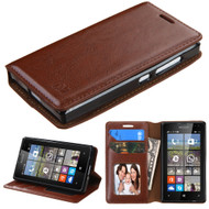 *Sale* Book-Style Leather Folio Case for Microsoft Lumia 435 - Brown