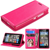 *Sale* Book-Style Leather Folio Case for Microsoft Lumia 435 - Hot Pink