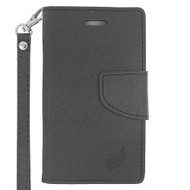 *Sale* Leather Wallet Shell Case for Microsoft Lumia 435 - Black
