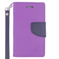 *Sale* Leather Wallet Shell Case for Microsoft Lumia 435 - Purple