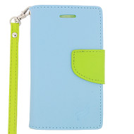 *Sale* Leather Wallet Shell Case for Microsoft Lumia 435 - Baby Blue