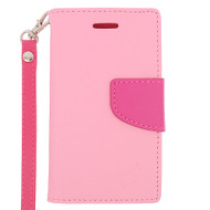 *Sale* Leather Wallet Shell Case for Microsoft Lumia 435 - Pink