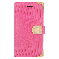 *Sale* Luxury Portfolio Leather Wallet for Samsung Galaxy Grand Prime - Croc Hot Pink