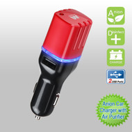 *Sale* Anion Dual USB Car Charger with Air Purifier - Red Black