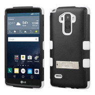 Military Grade Certified TUFF Hybrid Kickstand Case for LG G Stylo / Vista 2 - Black White