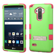 Military Grade Certified TUFF Hybrid Kickstand Case for LG G Stylo / Vista 2 - Green Hot Pink