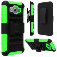 Advanced Armor Hybrid Kickstand Case with Holster for Samsung Galaxy Grand Prime - Black Green