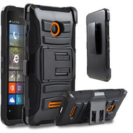 *Sale* Advanced Armor Hybrid Kickstand Case with Holster for Microsoft Lumia 435 - Black