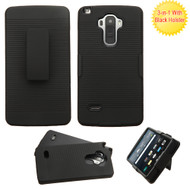 Dual Layer Armor Holster Case with Belt Clip for LG G Stylo / Vista 2 - Black