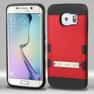 Military Grade Certified TUFF Trooper Hybrid Case for Samsung Galaxy S6 Edge - Red