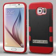 Military Grade Certified TUFF Trooper Hybrid Case for Samsung Galaxy S6 - Black Red