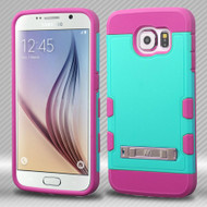 Military Grade Certified TUFF Trooper Hybrid Case for Samsung Galaxy S6 - Teal Hot Pink