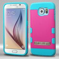 Military Grade Certified TUFF Trooper Hybrid Case for Samsung Galaxy S6 - Hot Pink Teal
