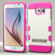 Military Grade Certified TUFF Trooper Hybrid Case for Samsung Galaxy S6 - White Hot Pink